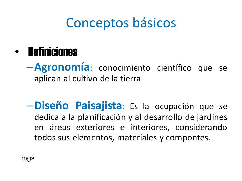 Conceptos básicos Definiciones – Agronomía : conocimiento científico que se aplican al cultivo de la tierra – Diseño Paisajista : Es la ocupación que
