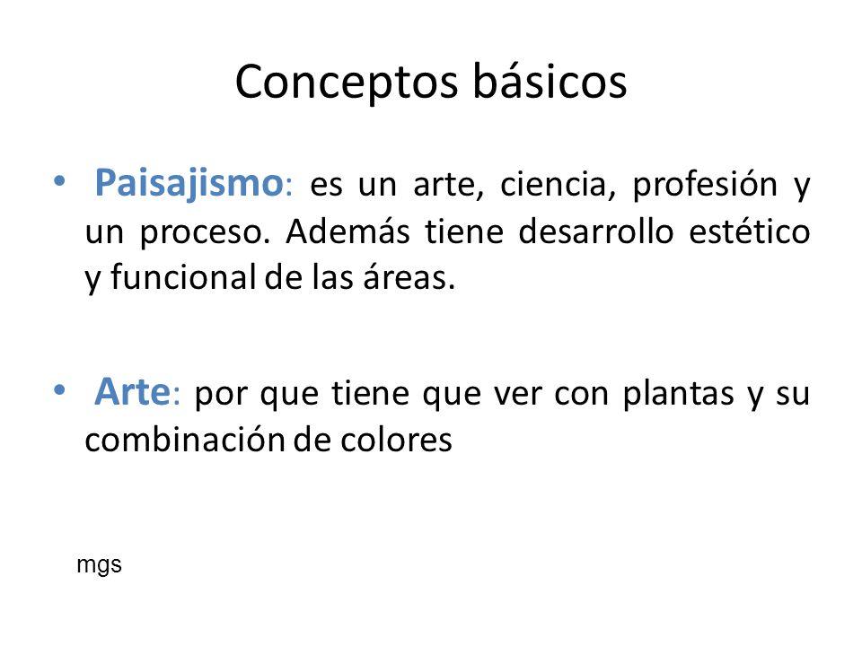 Conceptos básicos Paisajismo : es un arte, ciencia, profesión y un proceso. Además tiene desarrollo estético y funcional de las áreas. Arte : por que