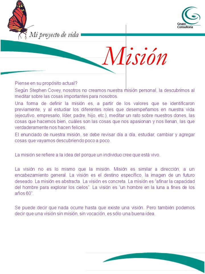 Mi proyecto de vida Misión Piense en su propósito actual? Según Stephen Covey, nosotros no creamos nuestra misión personal, la descubrimos al meditar