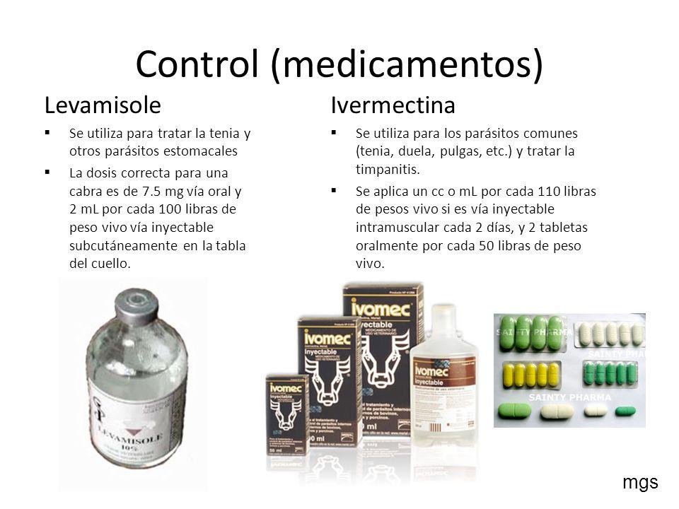 Control (medicamentos) Levamisole Se utiliza para tratar la tenia y otros parásitos estomacales La dosis correcta para una cabra es de 7.5 mg vía oral