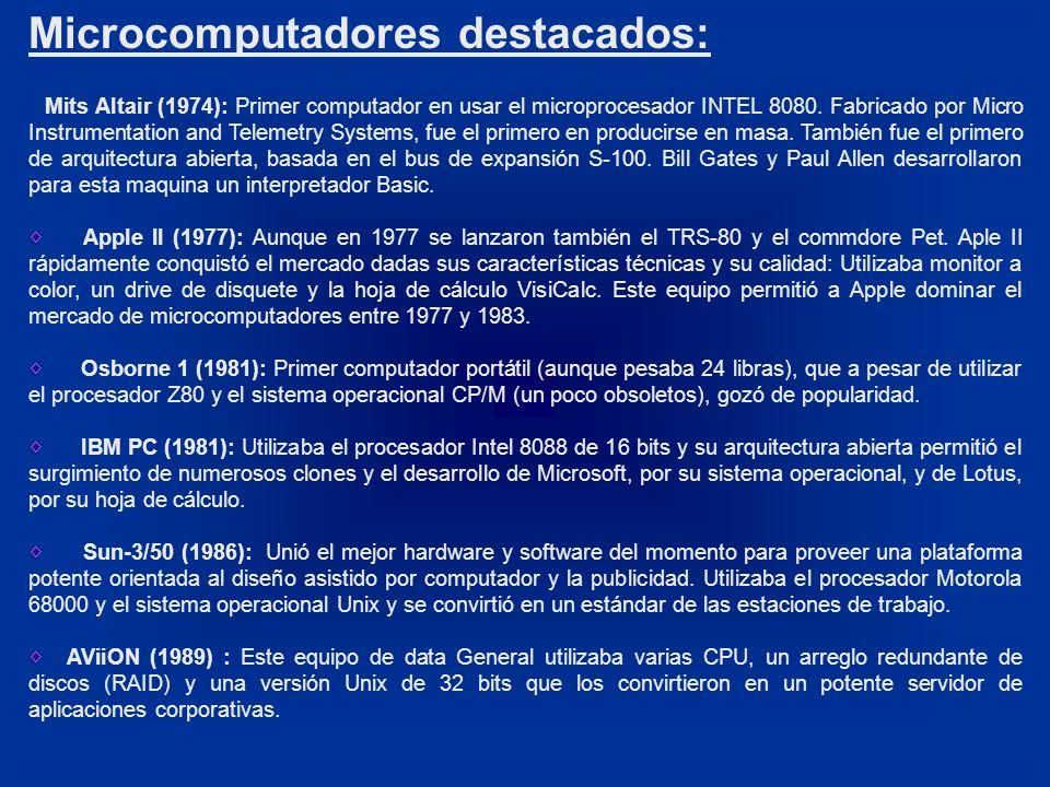 Microcomputadores destacados: Mits Altair (1974): Primer computador en usar el microprocesador INTEL 8080. Fabricado por Micro Instrumentation and Tel