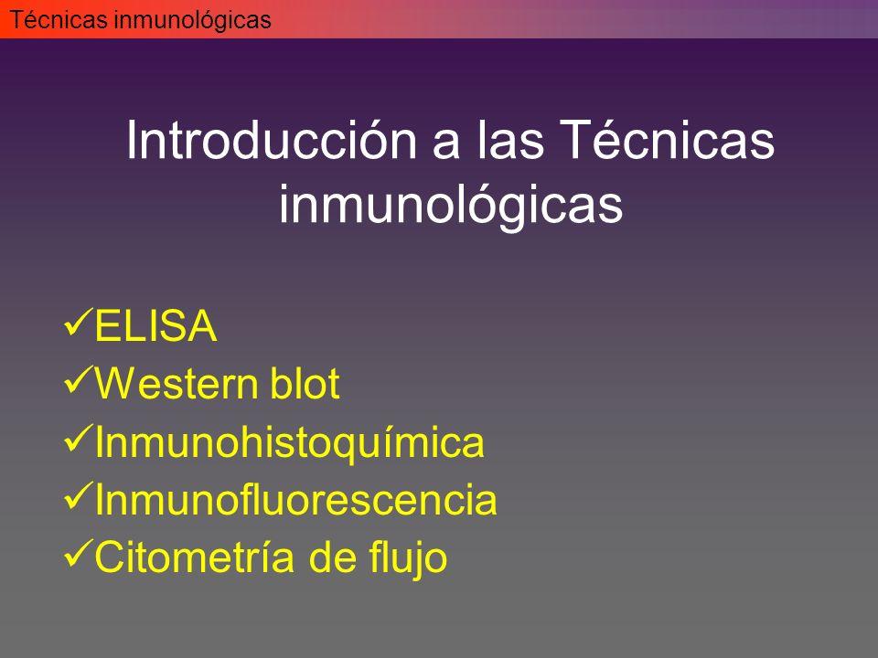 ELISA Western blot Inmunohistoquímica Inmunofluorescencia Citometría de flujo Técnicas inmunológicas Introducción a las Técnicas inmunológicas