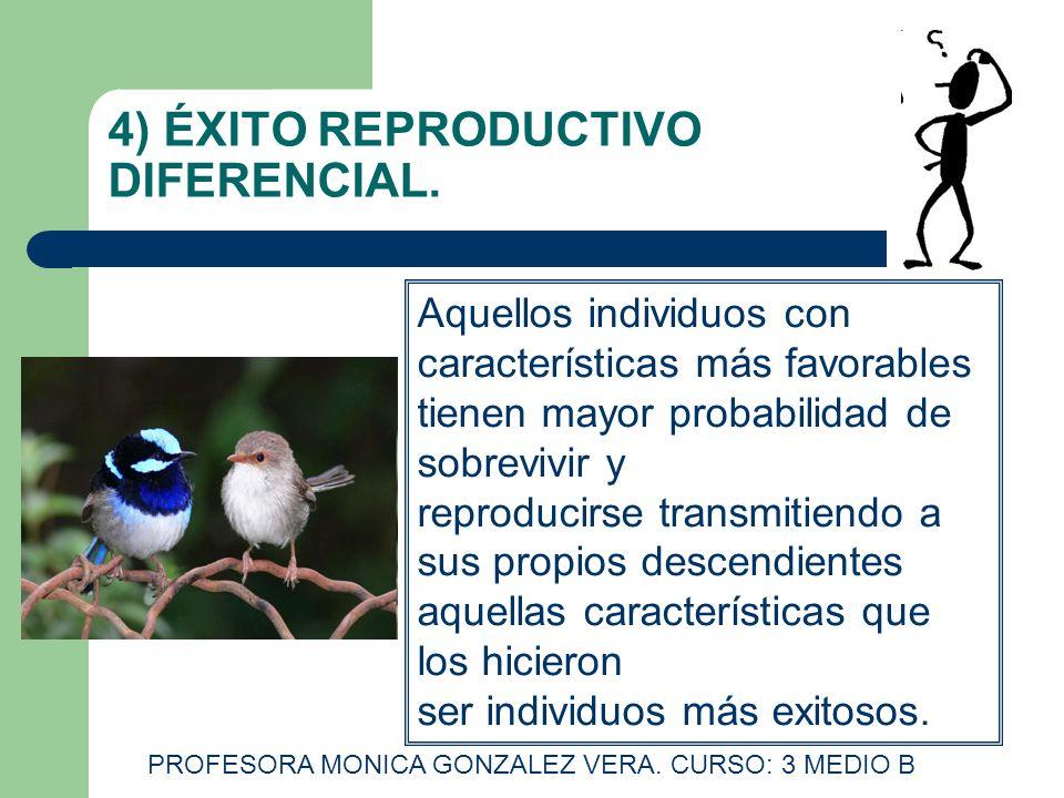 4) ÉXITO REPRODUCTIVO DIFERENCIAL. Aquellos individuos con características más favorables tienen mayor probabilidad de sobrevivir y reproducirse trans