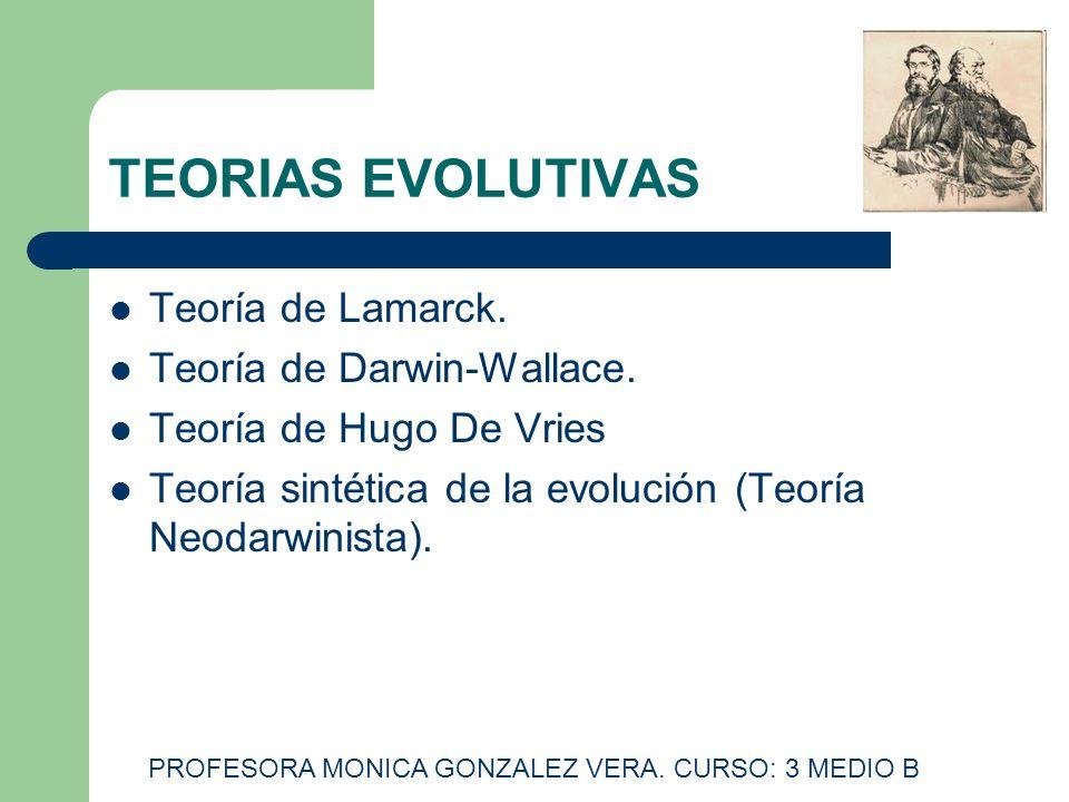 TEORIAS EVOLUTIVAS Teoría de Lamarck. Teoría de Darwin-Wallace. Teoría de Hugo De Vries Teoría sintética de la evolución (Teoría Neodarwinista). PROFE