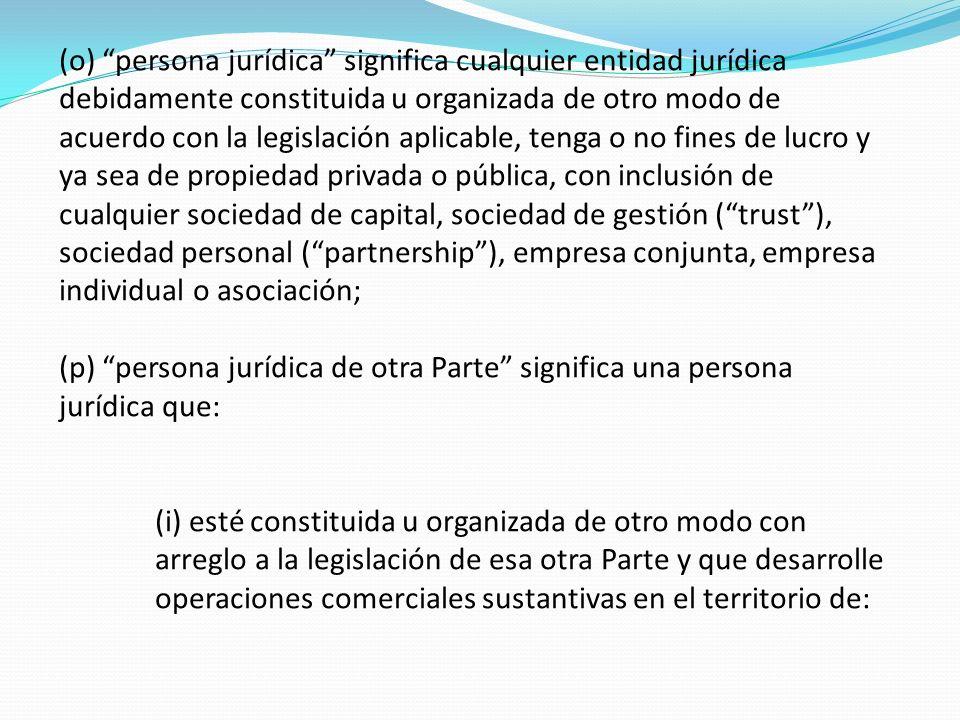 (o) persona jurídica significa cualquier entidad jurídica debidamente constituida u organizada de otro modo de acuerdo con la legislación aplicable, t