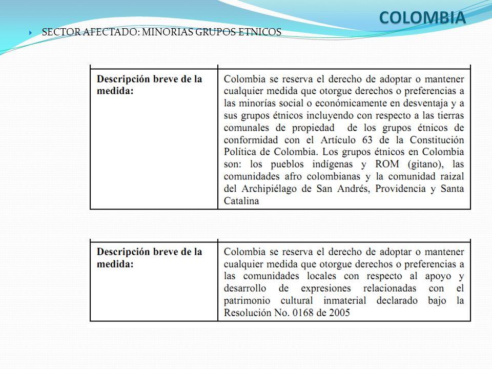 SECTOR AFECTADO: MINORIAS GRUPOS ETNICOS