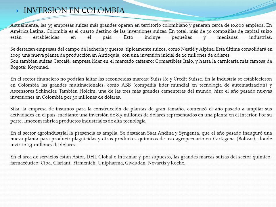 INVERSION EN COLOMBIA Actualmente, las 35 empresas suizas más grandes operan en territorio colombiano y generan cerca de 10.000 empleos. En América La