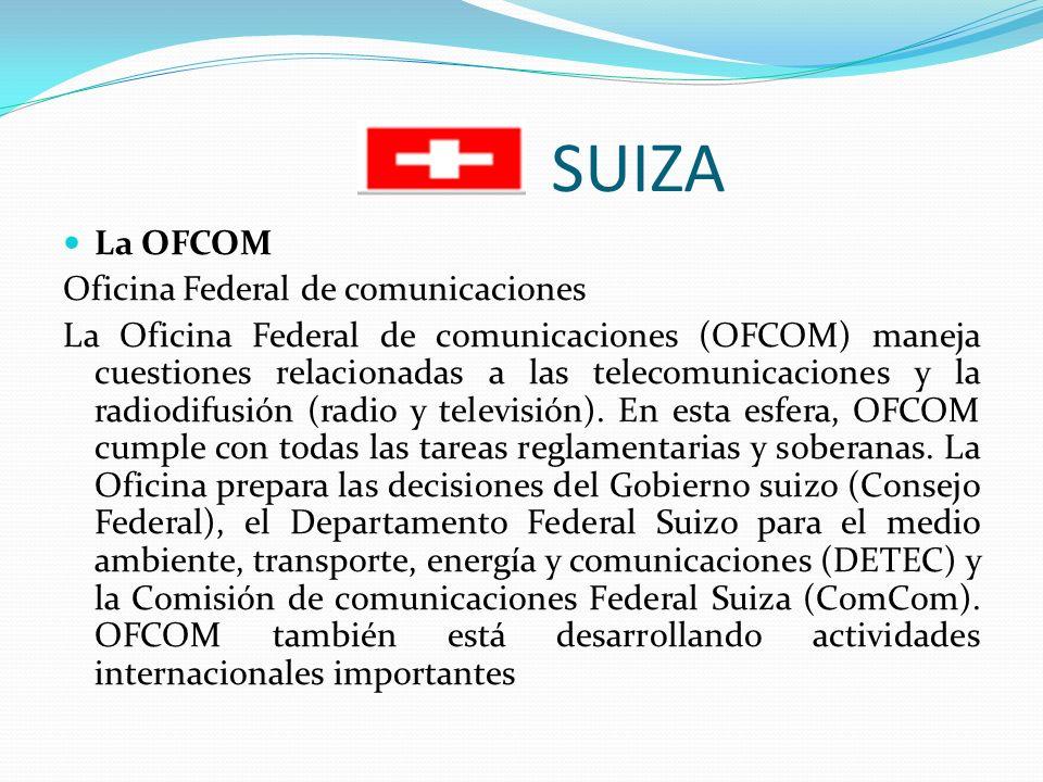 SUIZA La OFCOM Oficina Federal de comunicaciones La Oficina Federal de comunicaciones (OFCOM) maneja cuestiones relacionadas a las telecomunicaciones y la radiodifusión (radio y televisión).