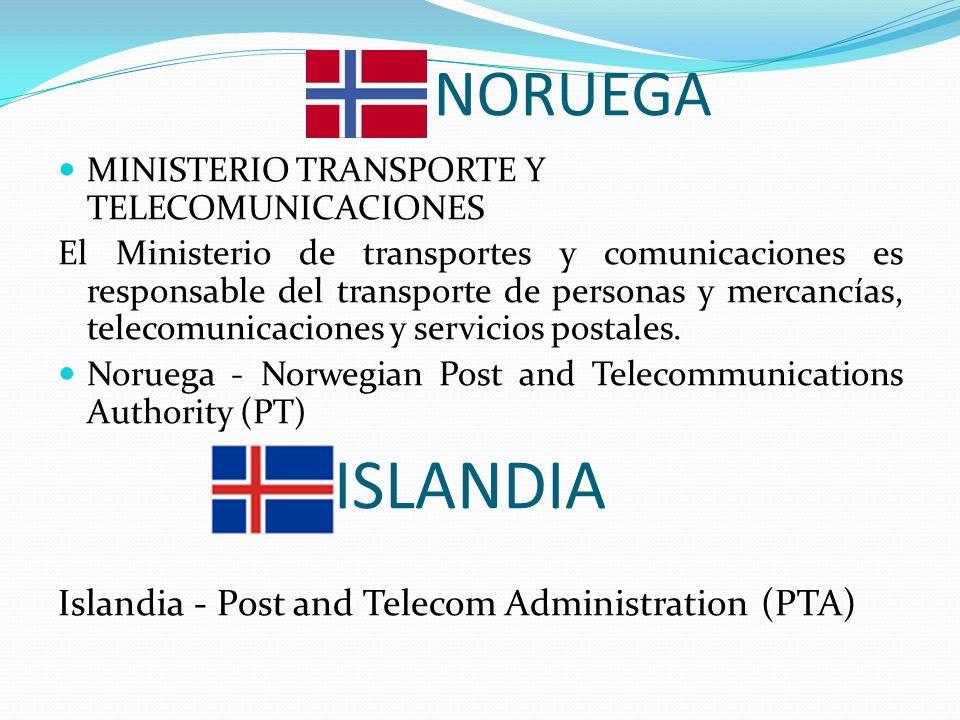 NORUEGA MINISTERIO TRANSPORTE Y TELECOMUNICACIONES El Ministerio de transportes y comunicaciones es responsable del transporte de personas y mercancías, telecomunicaciones y servicios postales.