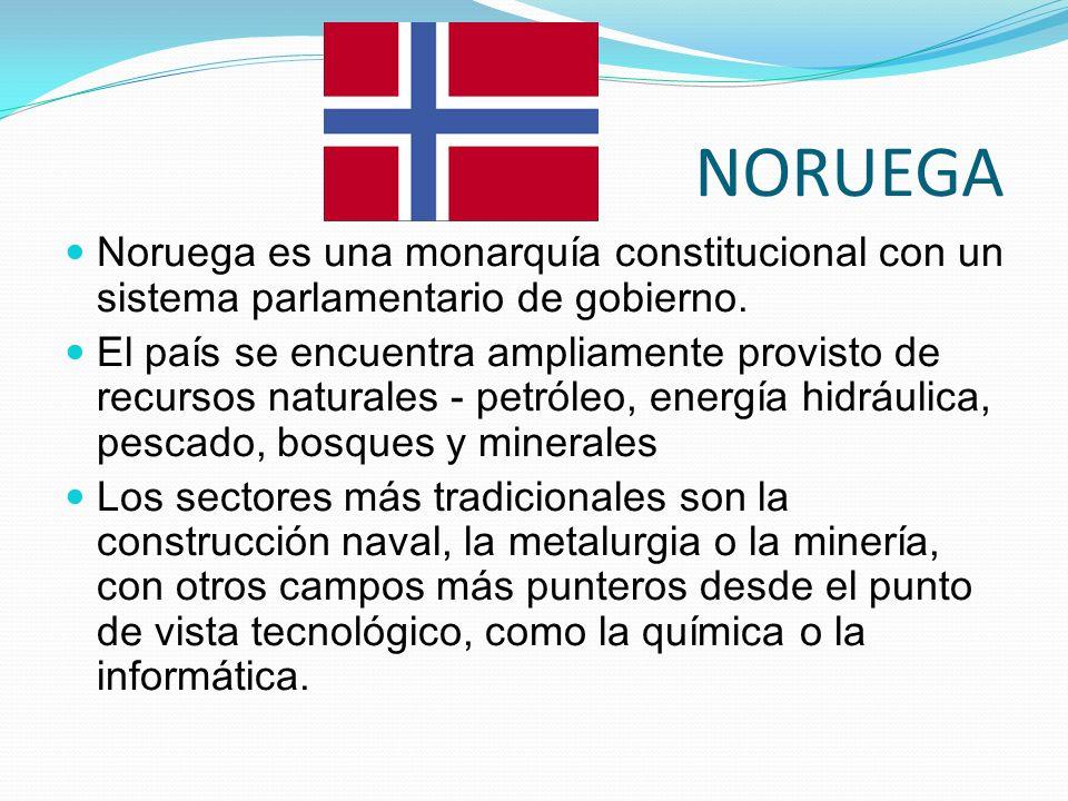 NORUEGA Noruega es una monarquía constitucional con un sistema parlamentario de gobierno. El país se encuentra ampliamente provisto de recursos natura