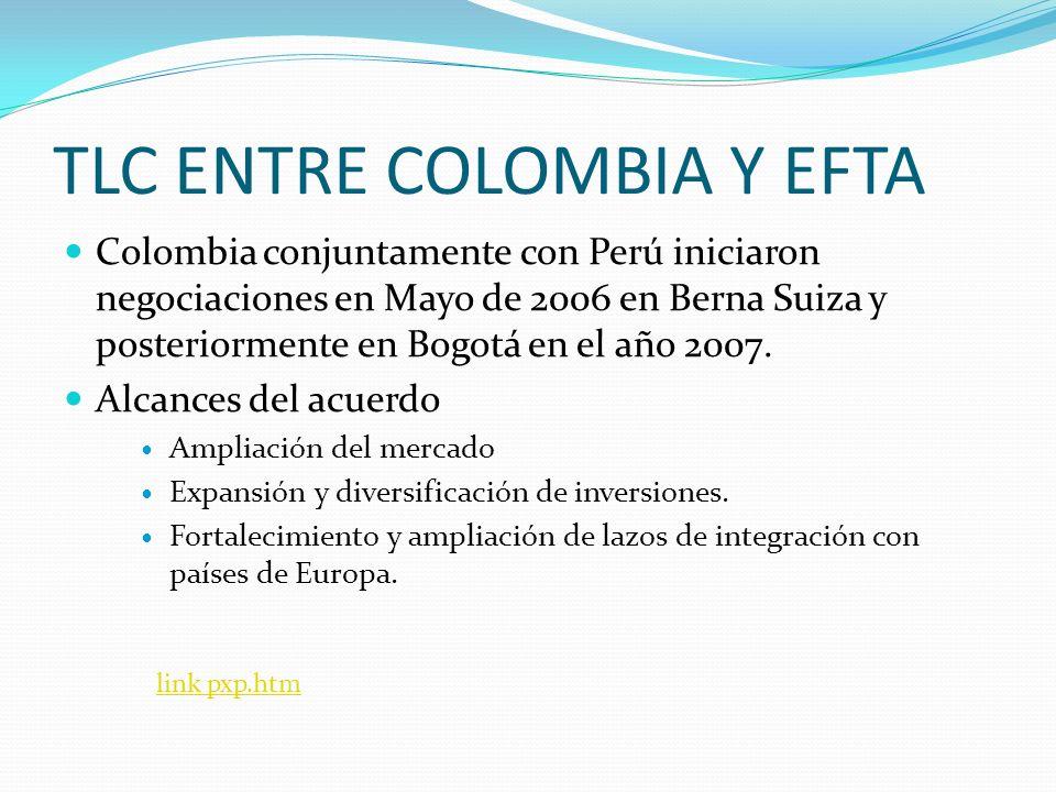 TLC ENTRE COLOMBIA Y EFTA Colombia conjuntamente con Perú iniciaron negociaciones en Mayo de 2006 en Berna Suiza y posteriormente en Bogotá en el año