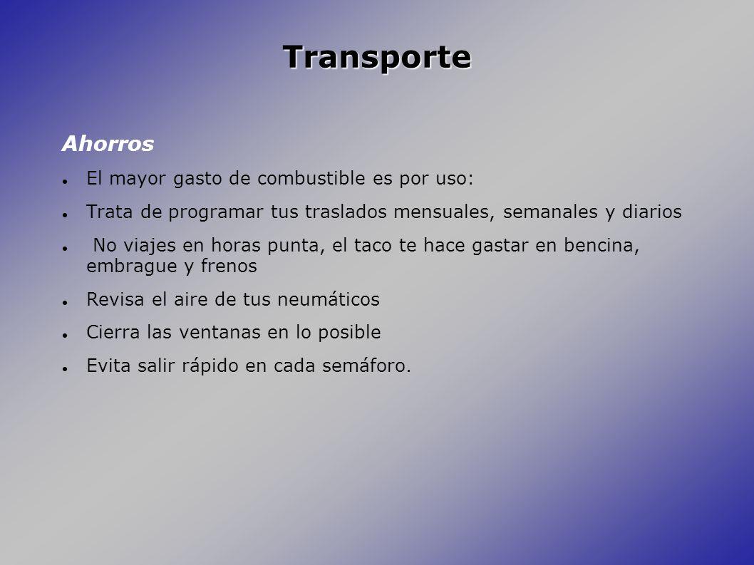 Transporte Ahorros El mayor gasto de combustible es por uso: Trata de programar tus traslados mensuales, semanales y diarios No viajes en horas punta,