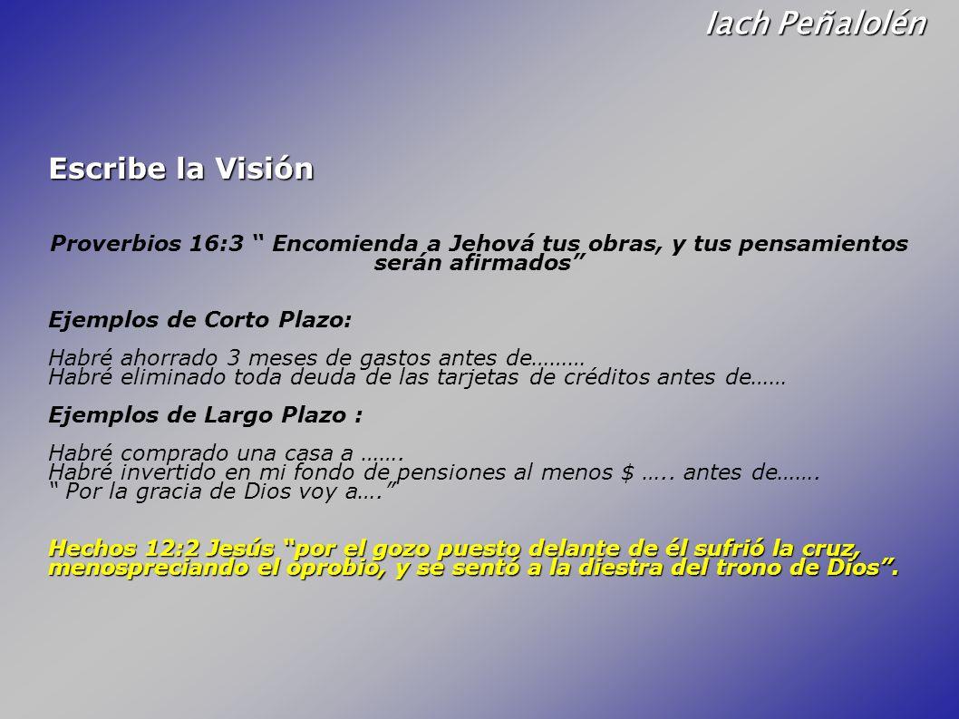 Iach Peñalolén Escribe la Visión Proverbios 16:3 Encomienda a Jehová tus obras, y tus pensamientos serán afirmados Ejemplos de Corto Plazo: Habré ahor