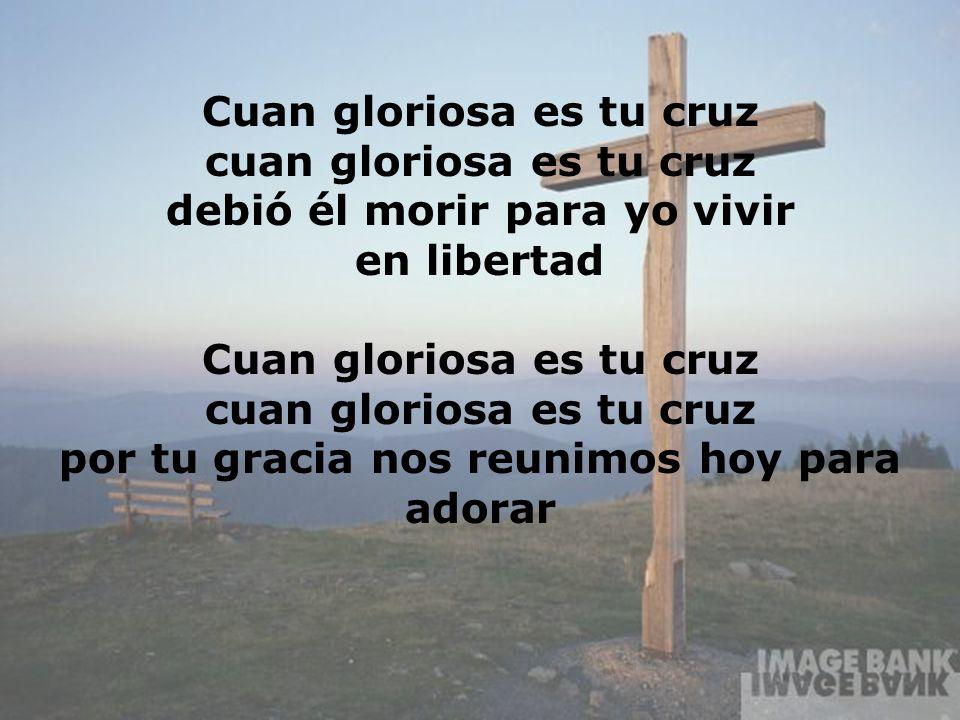 Cuan Gloriosa (4) Cuan gloriosa es tu cruz cuan gloriosa es tu cruz debió él morir para yo vivir en libertad Cuan gloriosa es tu cruz cuan gloriosa es