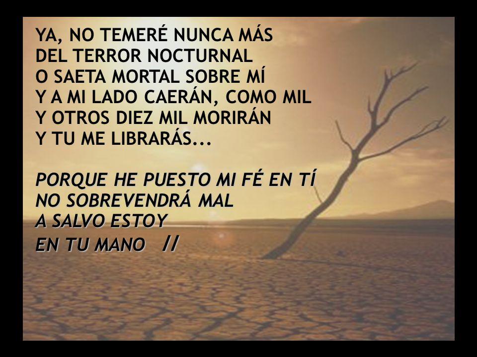 Salmo 91 (1) YA, NO TEMERÉ NUNCA MÁS DEL TERROR NOCTURNAL O SAETA MORTAL SOBRE MÍ Y A MI LADO CAERÁN, COMO MIL Y OTROS DIEZ MIL MORIRÁN Y TU ME LIBRAR