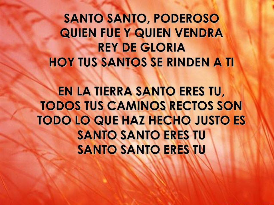 Santo Santo (2) Santo SANTO SANTO, PODEROSO QUIEN FUE Y QUIEN VENDRA REY DE GLORIA HOY TUS SANTOS SE RINDEN A TI EN LA TIERRA SANTO ERES TU, TODOS TUS