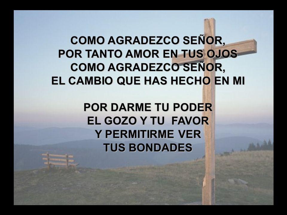 Como Agradezco (3) COMO AGRADEZCO SEÑOR, POR TANTO AMOR EN TUS OJOS COMO AGRADEZCO SEÑOR, EL CAMBIO QUE HAS HECHO EN MI POR DARME TU PODER EL GOZO Y T