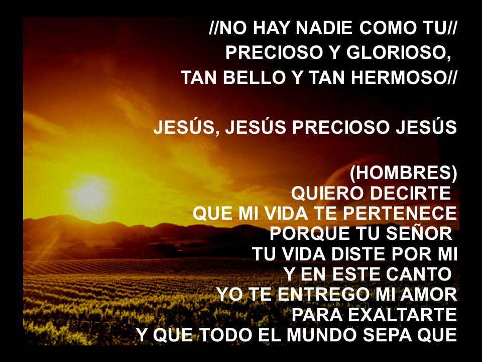 Señor, aqui estamos (2) //NO HAY NADIE COMO TU// PRECIOSO Y GLORIOSO, TAN BELLO Y TAN HERMOSO// JESÚS, JESÚS PRECIOSO JESÚS (HOMBRES) QUIERO DECIRTE Q