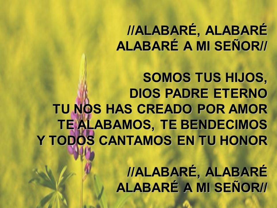 Alabaré (3) //ALABARÉ, ALABARÉ ALABARÉ A MI SEÑOR// SOMOS TUS HIJOS, DIOS PADRE ETERNO TU NOS HAS CREADO POR AMOR TE ALABAMOS, TE BENDECIMOS Y TODOS C