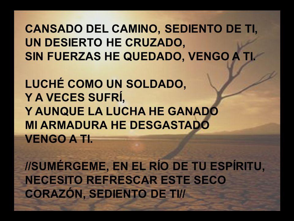 Cansado del Camino CANSADO DEL CAMINO, SEDIENTO DE TI, UN DESIERTO HE CRUZADO, SIN FUERZAS HE QUEDADO, VENGO A TI. LUCHÉ COMO UN SOLDADO, Y A VECES SU