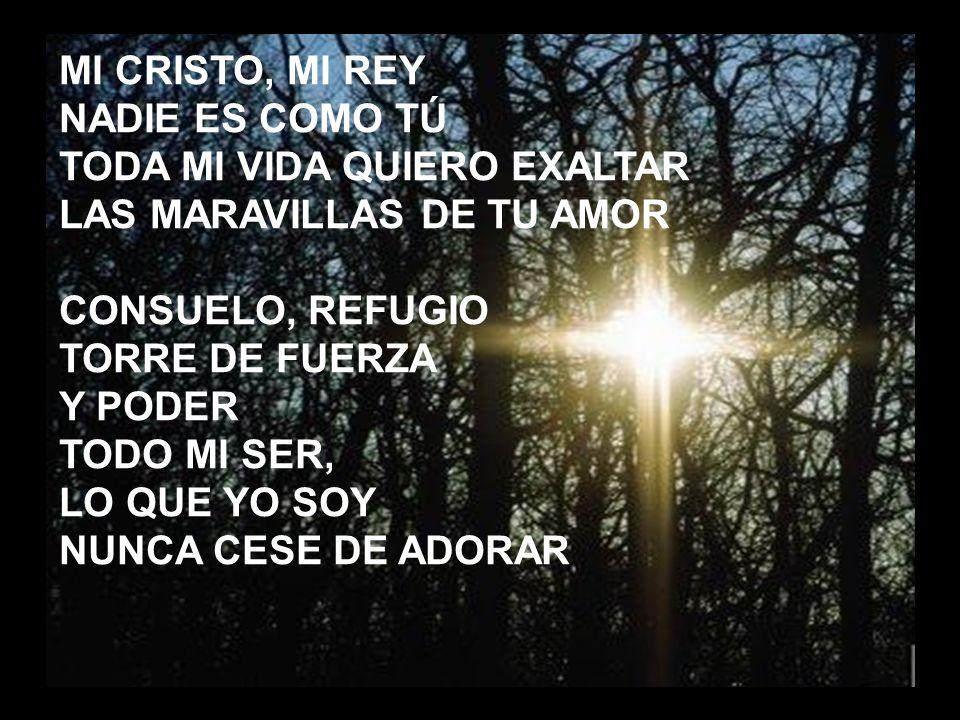 Mi Cristo, mi Rey (1) MI CRISTO, MI REY NADIE ES COMO TÚ TODA MI VIDA QUIERO EXALTAR LAS MARAVILLAS DE TU AMOR CONSUELO, REFUGIO TORRE DE FUERZA Y POD