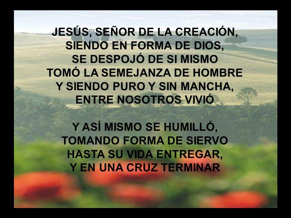 Jesús Señor de la Creación (1) JESÚS, SEÑOR DE LA CREACIÓN, SIENDO EN FORMA DE DIOS, SE DESPOJÓ DE SI MISMO TOMÓ LA SEMEJANZA DE HOMBRE Y SIENDO PURO