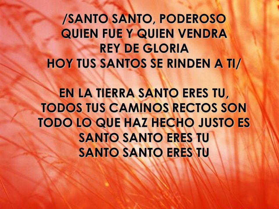 Santo /SANTO SANTO, PODEROSO QUIEN FUE Y QUIEN VENDRA REY DE GLORIA HOY TUS SANTOS SE RINDEN A TI/ EN LA TIERRA SANTO ERES TU, TODOS TUS CAMINOS RECTO