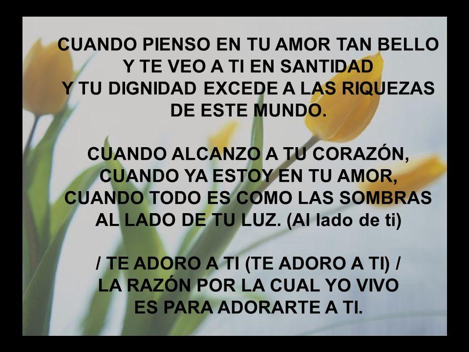 Cuando pienso en tu amor CUANDO PIENSO EN TU AMOR TAN BELLO Y TE VEO A TI EN SANTIDAD Y TU DIGNIDAD EXCEDE A LAS RIQUEZAS DE ESTE MUNDO. CUANDO ALCANZ