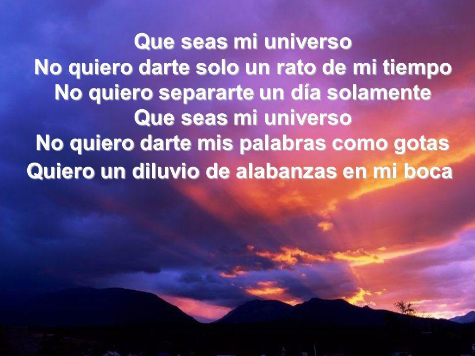Que Seas Mi Universo I Que seas mi universo No quiero darte solo un rato de mi tiempo No quiero separarte un día solamente Que seas mi universo No qui