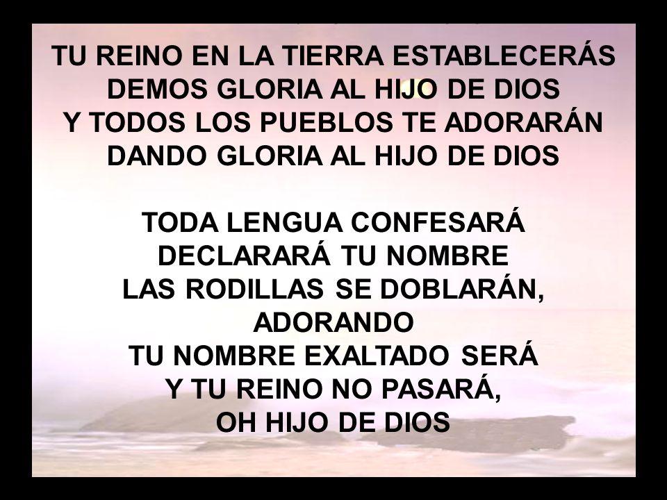 Honor y gloria (2) TU REINO EN LA TIERRA ESTABLECERÁS DEMOS GLORIA AL HIJO DE DIOS Y TODOS LOS PUEBLOS TE ADORARÁN DANDO GLORIA AL HIJO DE DIOS TODA L