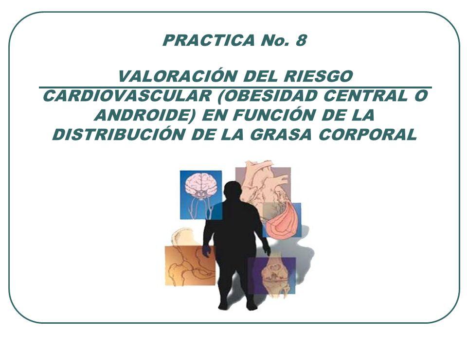 PRACTICA No. 8 VALORACIÓN DEL RIESGO CARDIOVASCULAR (OBESIDAD CENTRAL O ANDROIDE) EN FUNCIÓN DE LA DISTRIBUCIÓN DE LA GRASA CORPORAL