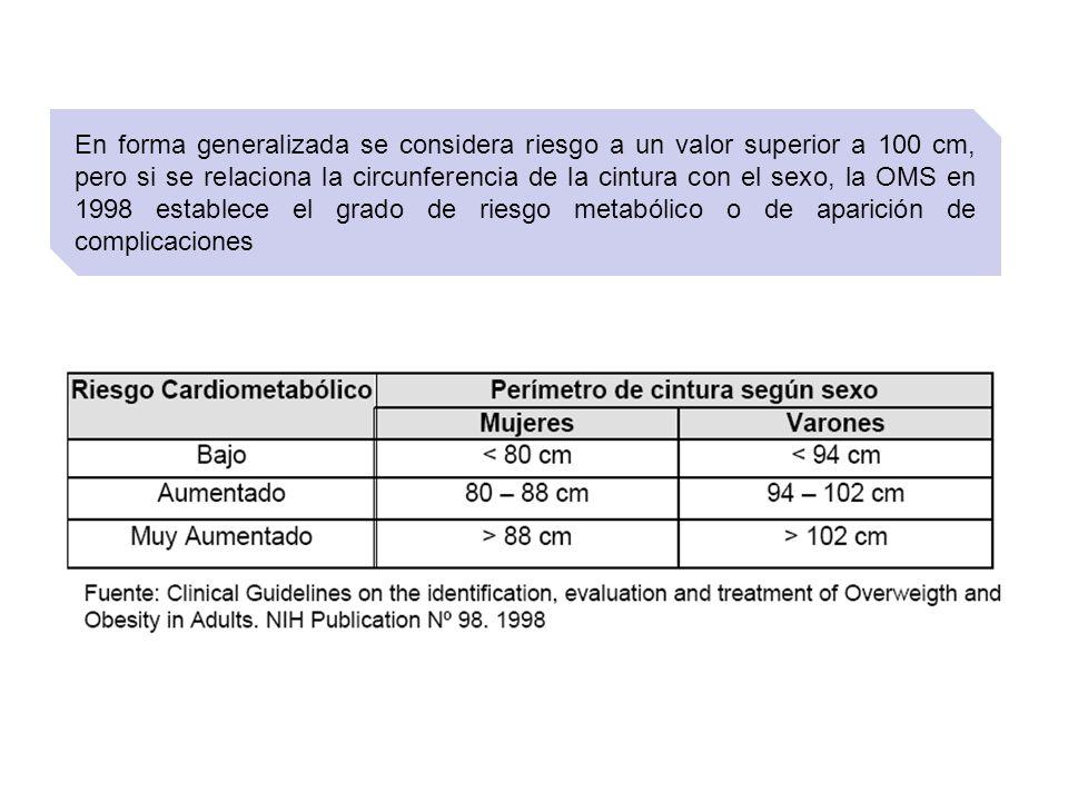 En forma generalizada se considera riesgo a un valor superior a 100 cm, pero si se relaciona la circunferencia de la cintura con el sexo, la OMS en 19