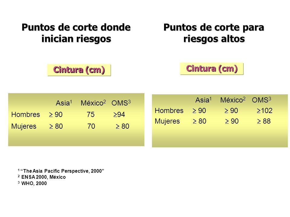 Puntos de corte donde inician riesgos 1 The Asia Pacific Perspective, 2000 2 ENSA 2000, México 3 WHO, 2000 Cintura (cm) Asia 1 México 2 OMS 3 Hombres