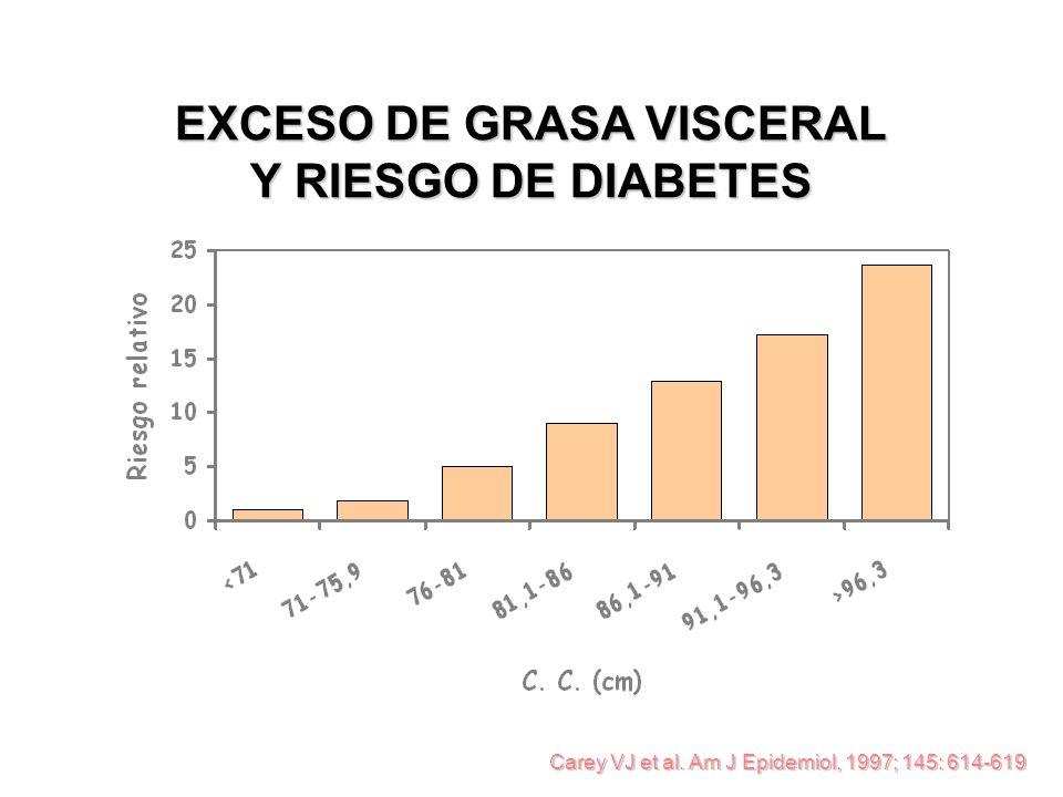 Carey VJ et al. Am J Epidemiol, 1997; 145: 614-619 EXCESO DE GRASA VISCERAL Y RIESGO DE DIABETES