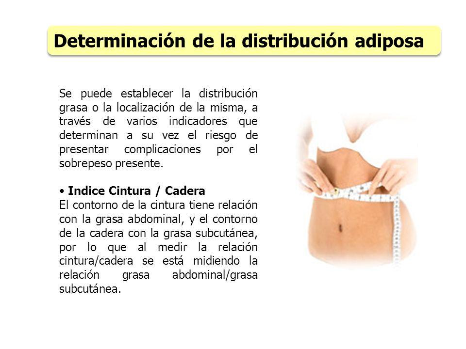 Se puede establecer la distribución grasa o la localización de la misma, a través de varios indicadores que determinan a su vez el riesgo de presentar