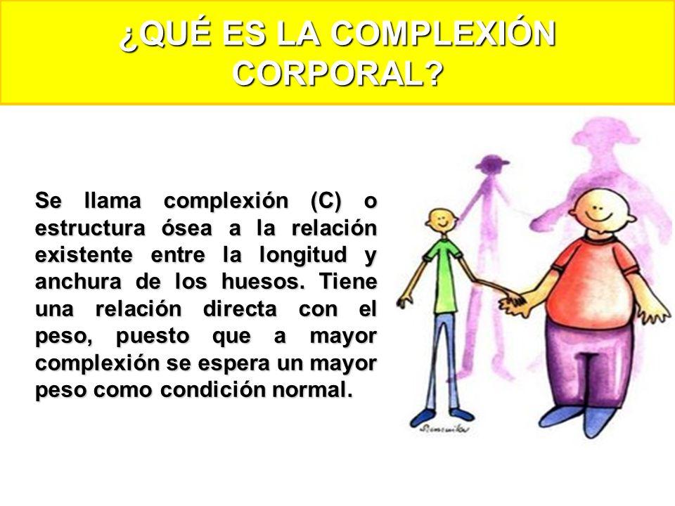 Se llama complexión (C) o estructura ósea a la relación existente entre la longitud y anchura de los huesos. Tiene una relación directa con el peso, p