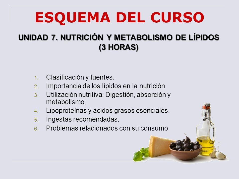 ESQUEMA DEL CURSO UNIDAD 7. NUTRICIÓN Y METABOLISMO DE LÍPIDOS (3 HORAS) 1. Clasificación y fuentes. 2. Importancia de los lípidos en la nutrición 3.