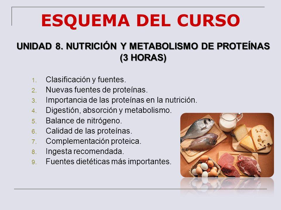ESQUEMA DEL CURSO UNIDAD 8. NUTRICIÓN Y METABOLISMO DE PROTEÍNAS (3 HORAS) 1. Clasificación y fuentes. 2. Nuevas fuentes de proteínas. 3. Importancia