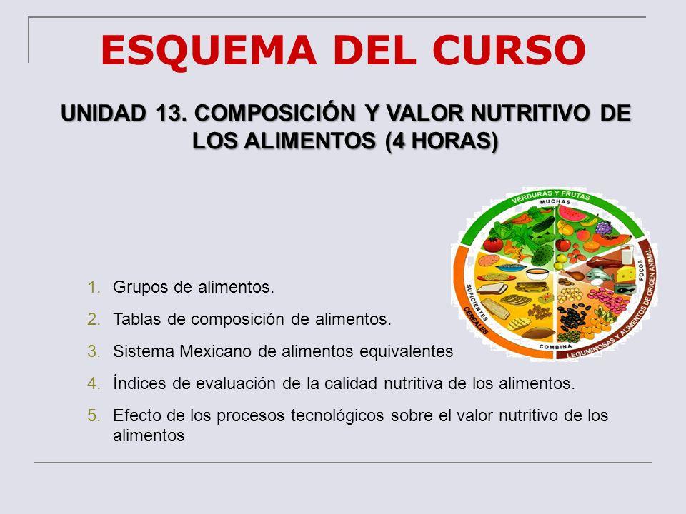 ESQUEMA DEL CURSO UNIDAD 13. COMPOSICIÓN Y VALOR NUTRITIVO DE LOS ALIMENTOS (4 HORAS) 1.Grupos de alimentos. 2.Tablas de composición de alimentos. 3.S