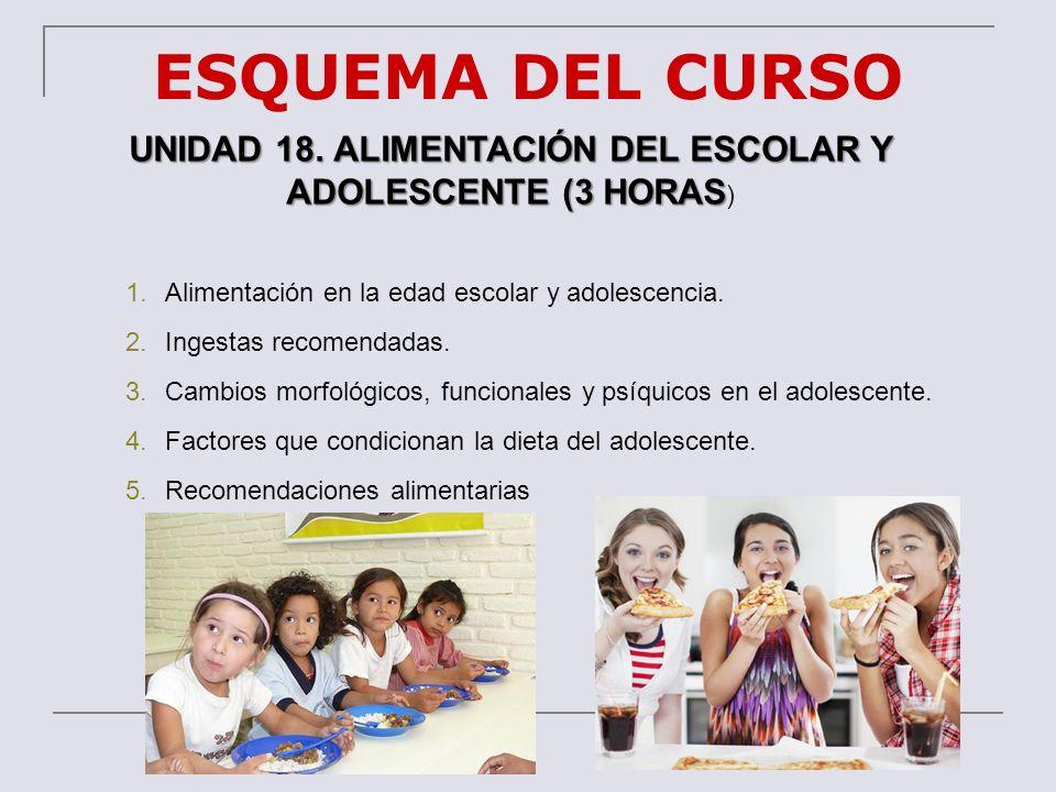 ESQUEMA DEL CURSO UNIDAD 18. ALIMENTACIÓN DEL ESCOLAR Y ADOLESCENTE (3 HORAS UNIDAD 18. ALIMENTACIÓN DEL ESCOLAR Y ADOLESCENTE (3 HORAS ) 1.Alimentaci