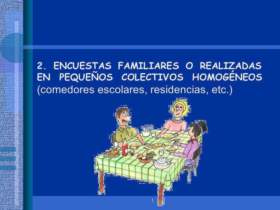 2. ENCUESTAS FAMILIARES O REALIZADAS EN PEQUEÑOS COLECTIVOS HOMOGÉNEOS (comedores escolares, residencias, etc.)