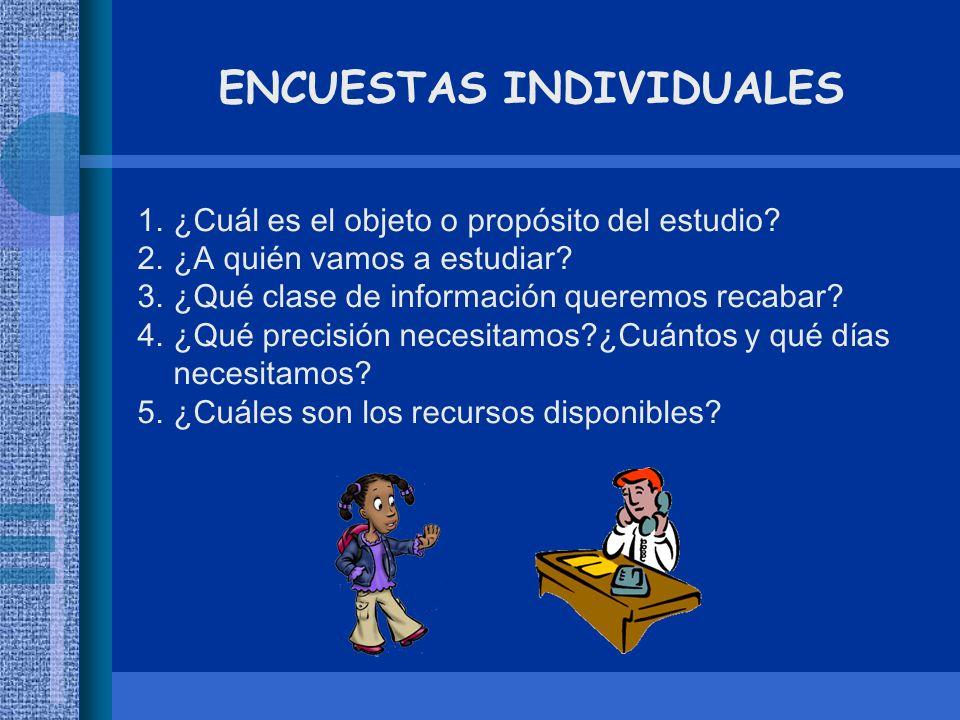 ENCUESTAS INDIVIDUALES 1.¿Cuál es el objeto o propósito del estudio? 2.¿A quién vamos a estudiar? 3.¿Qué clase de información queremos recabar? 4.¿Qué