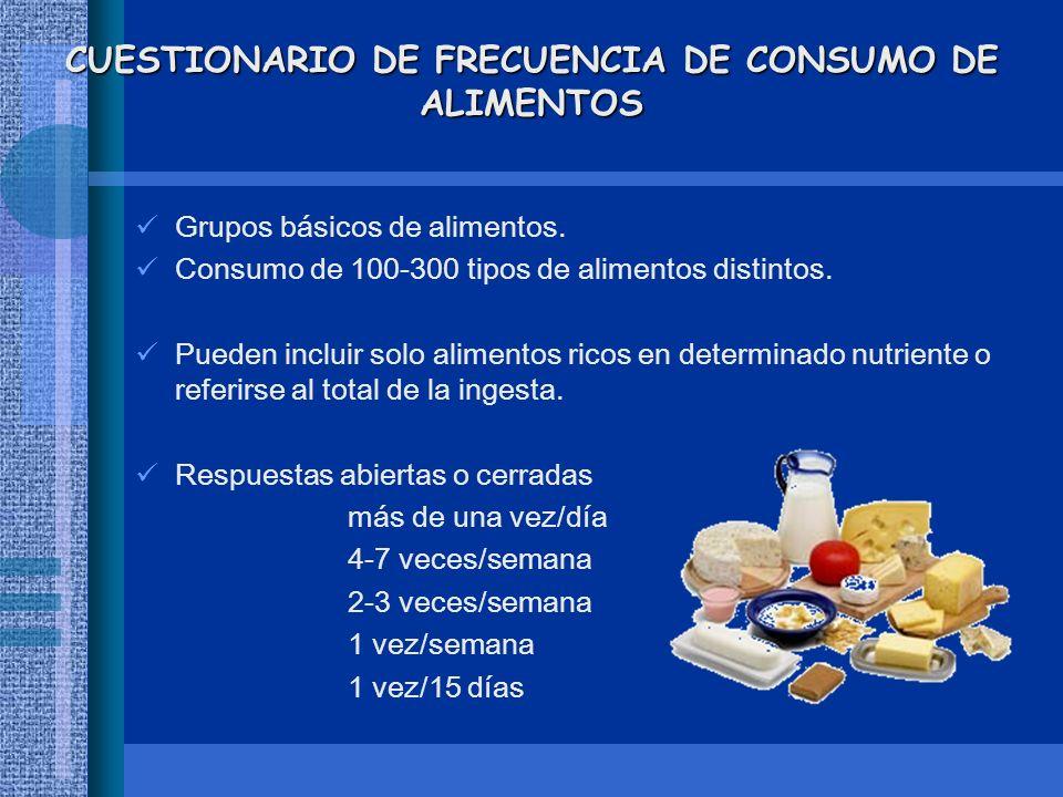 CUESTIONARIO DE FRECUENCIA DE CONSUMO DE ALIMENTOS Grupos básicos de alimentos. Consumo de 100-300 tipos de alimentos distintos. Pueden incluir solo a