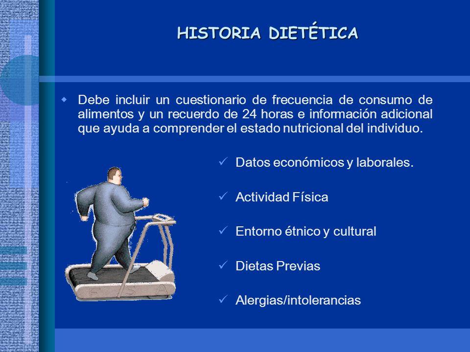 HISTORIA DIETÉTICA Debe incluir un cuestionario de frecuencia de consumo de alimentos y un recuerdo de 24 horas e información adicional que ayuda a co