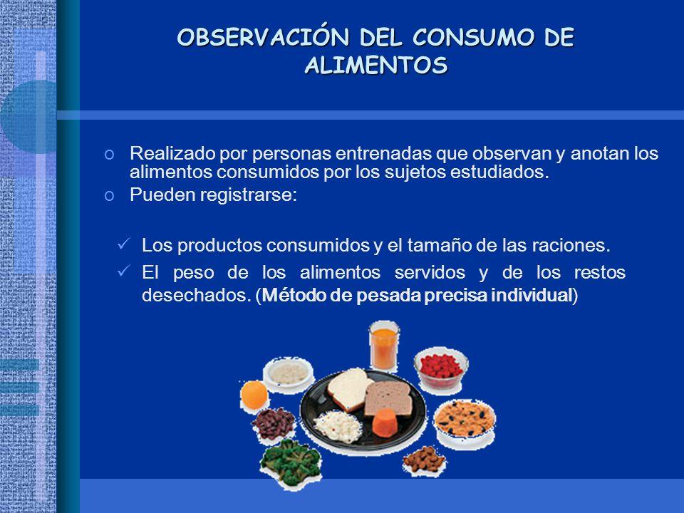 OBSERVACIÓN DEL CONSUMO DE ALIMENTOS oRealizado por personas entrenadas que observan y anotan los alimentos consumidos por los sujetos estudiados. oPu