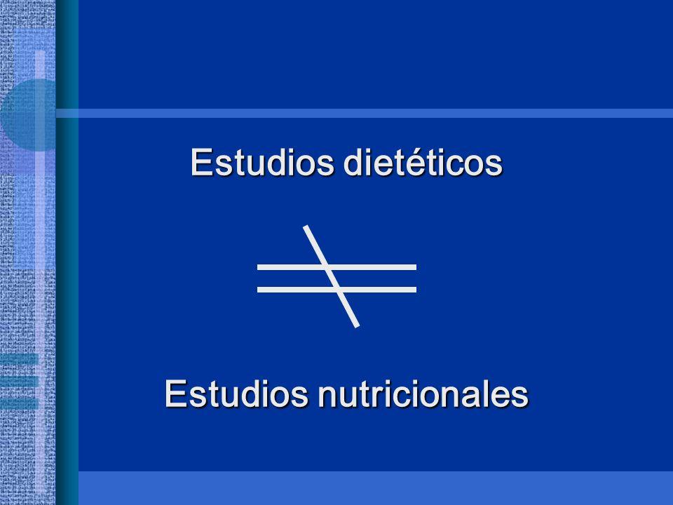 Estudios dietéticos Estudios nutricionales