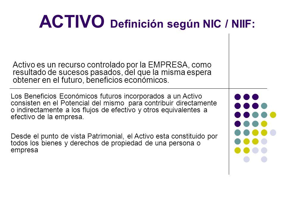 ACTIVO Definición según NIC / NIIF: Activo es un recurso controlado por la EMPRESA, como resultado de sucesos pasados, del que la misma espera obtener