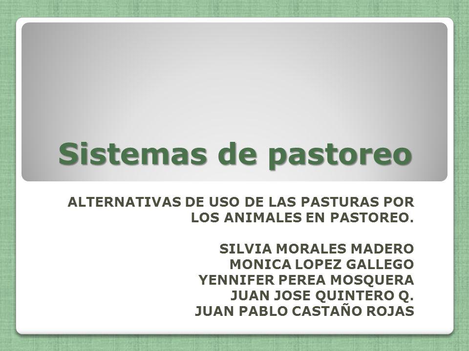 Sistemas de pastoreo ALTERNATIVAS DE USO DE LAS PASTURAS POR LOS ANIMALES EN PASTOREO. SILVIA MORALES MADERO MONICA LOPEZ GALLEGO YENNIFER PEREA MOSQU