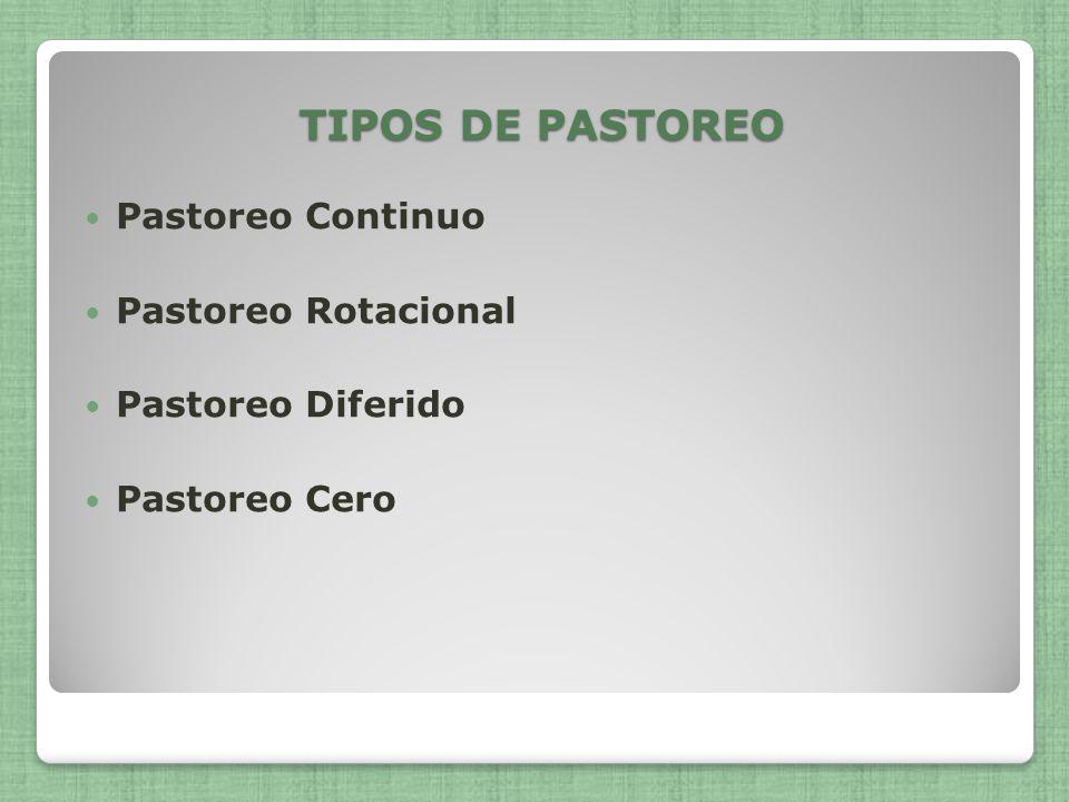 TIPOS DE PASTOREO Pastoreo Continuo Pastoreo Rotacional Pastoreo Diferido Pastoreo Cero