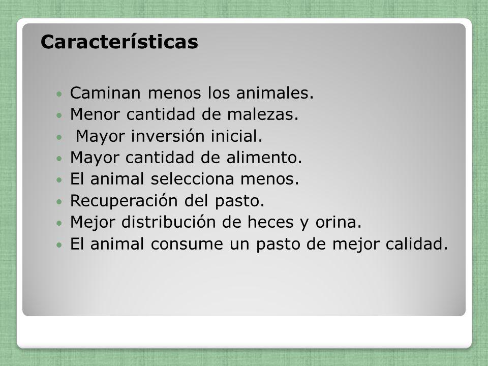 Características Caminan menos los animales. Menor cantidad de malezas. Mayor inversión inicial. Mayor cantidad de alimento. El animal selecciona menos